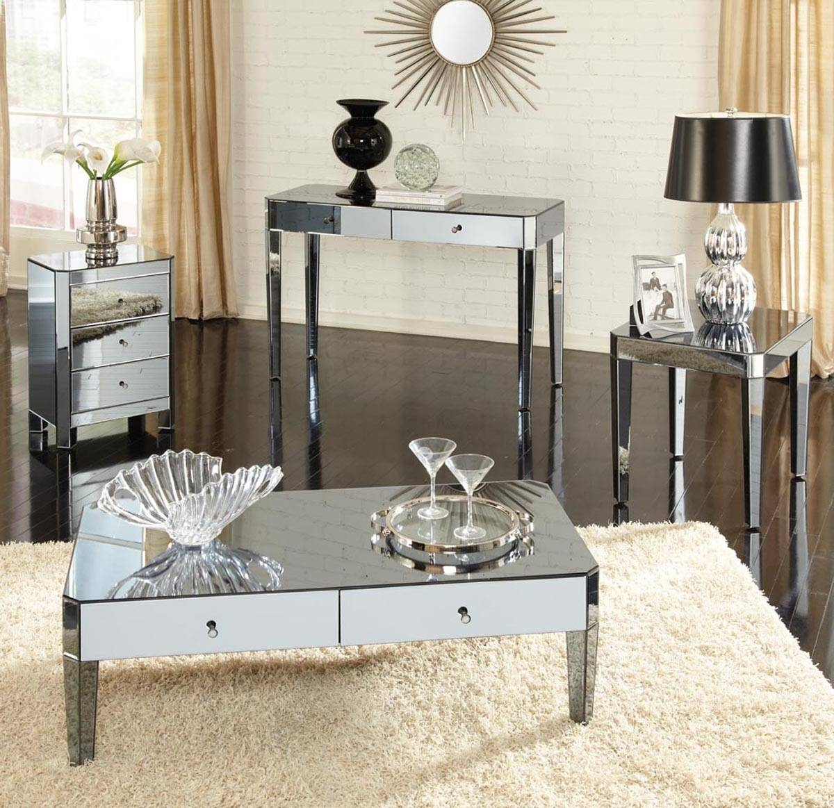 Coffee Table: Best Mirrored Coffee Table Furniture Console Table intended for Round Mirrored Coffee Tables (Image 4 of 30)