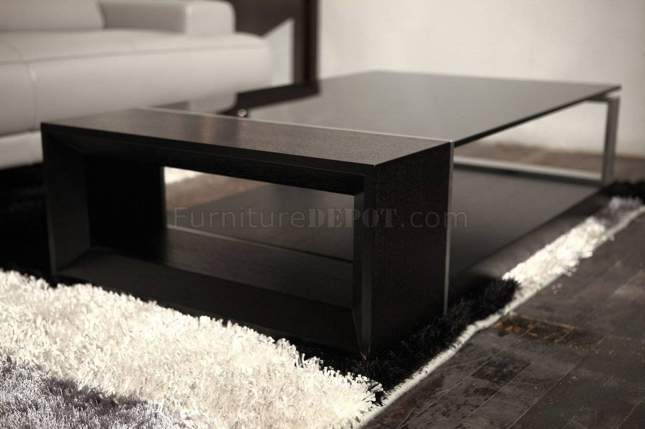 Coffee Table - Beverly Hills - Espresso W/black Glass Top throughout Dark Glass Coffee Tables (Image 10 of 30)