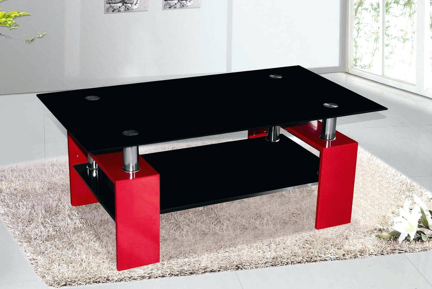 Coffee Table ~ Black And Red Coffee Tableblack Glass Table With for Red Coffee Table (Image 6 of 30)