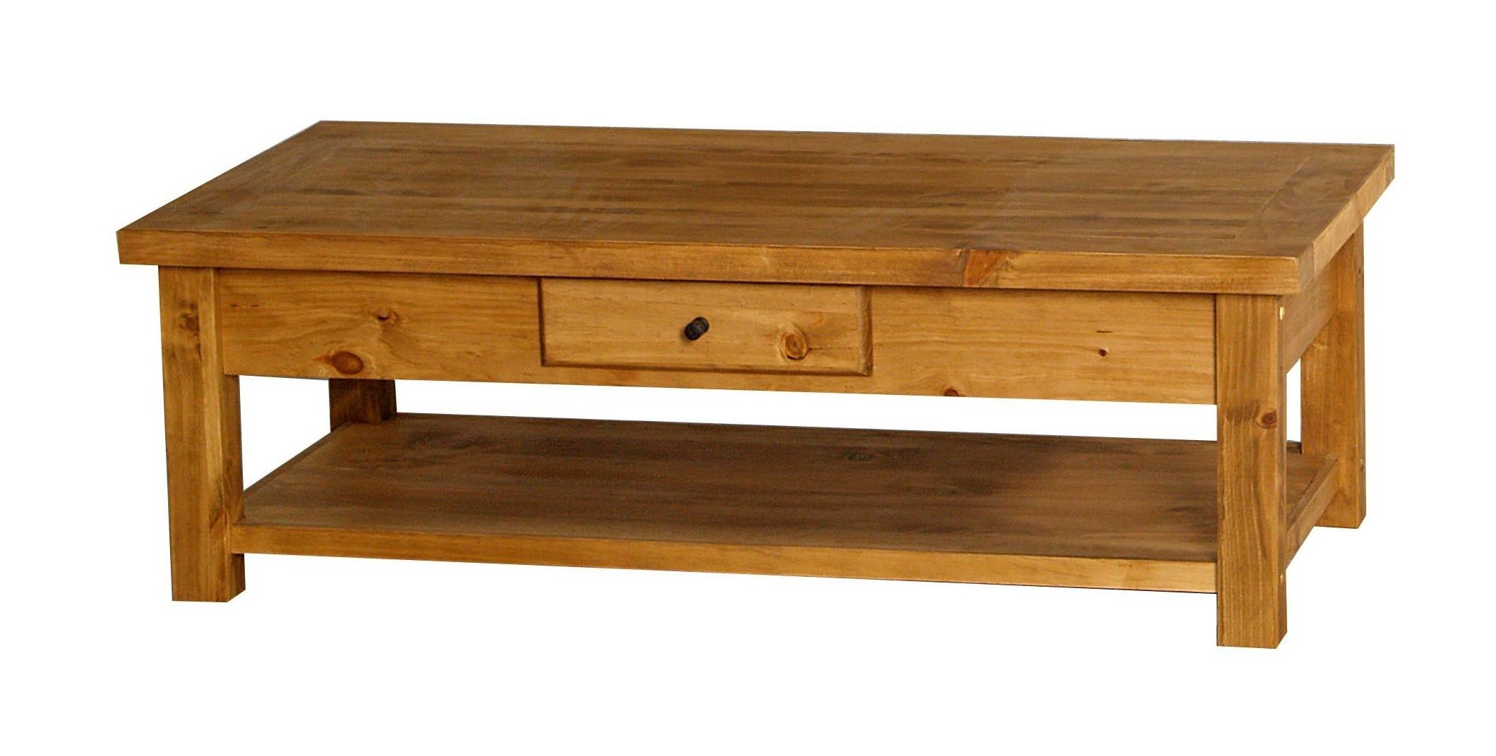 Top of pine coffee tables with storage