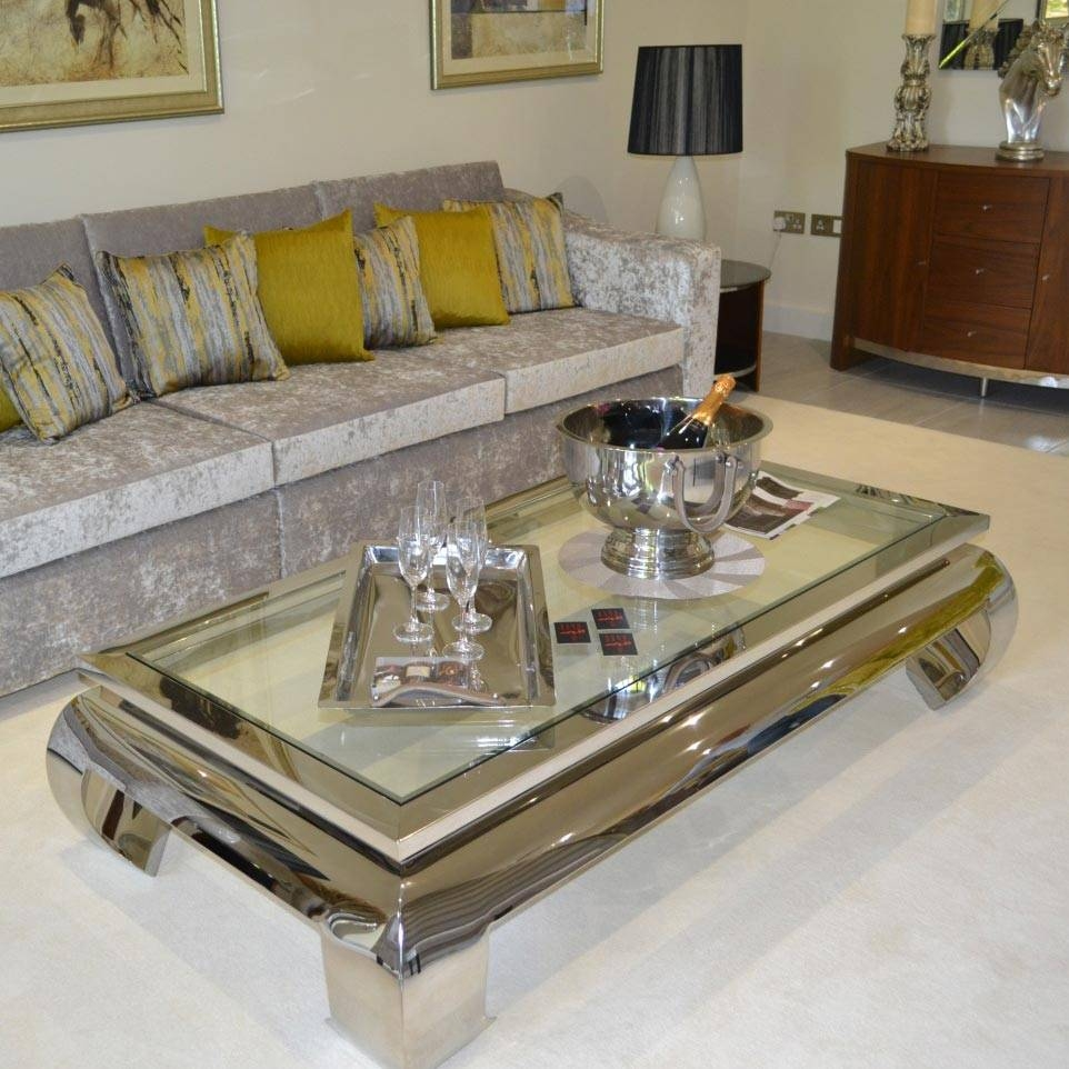 Coffee Table: Brilliant Chrome And Glass Coffee Table Design Ideas in Rectangle Glass Chrome Coffee Tables (Image 12 of 30)