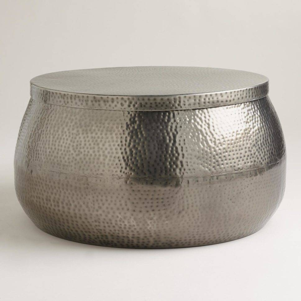 Coffee Table : Cala Hammered Coffee Table Round Metal Coffee for Round Steel Coffee Tables (Image 5 of 30)