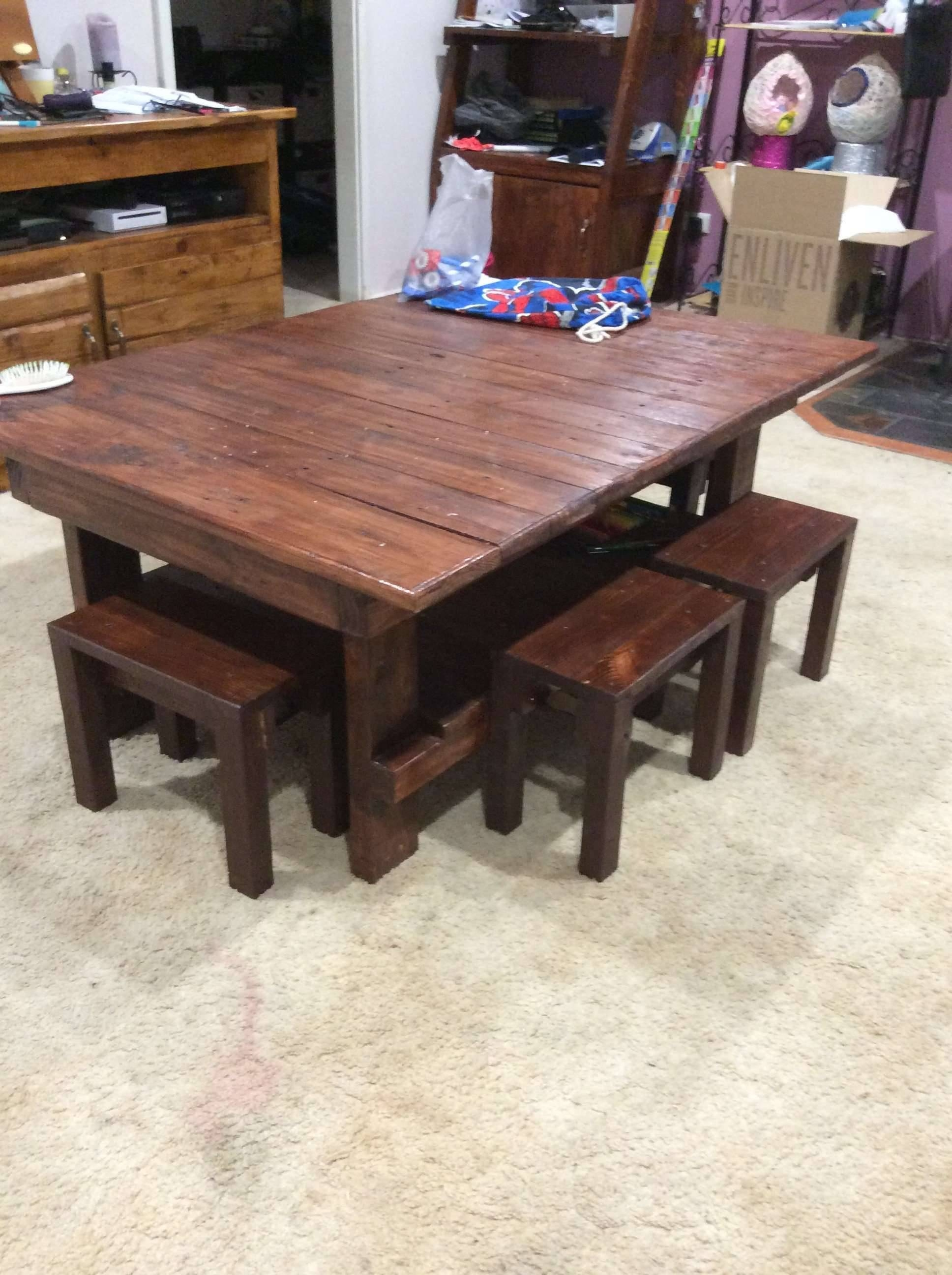 Coffee Table & Chairs For The Kids • Pallet Ideas • 1001 Pallets with regard to Coffee Table With Chairs (Image 13 of 30)