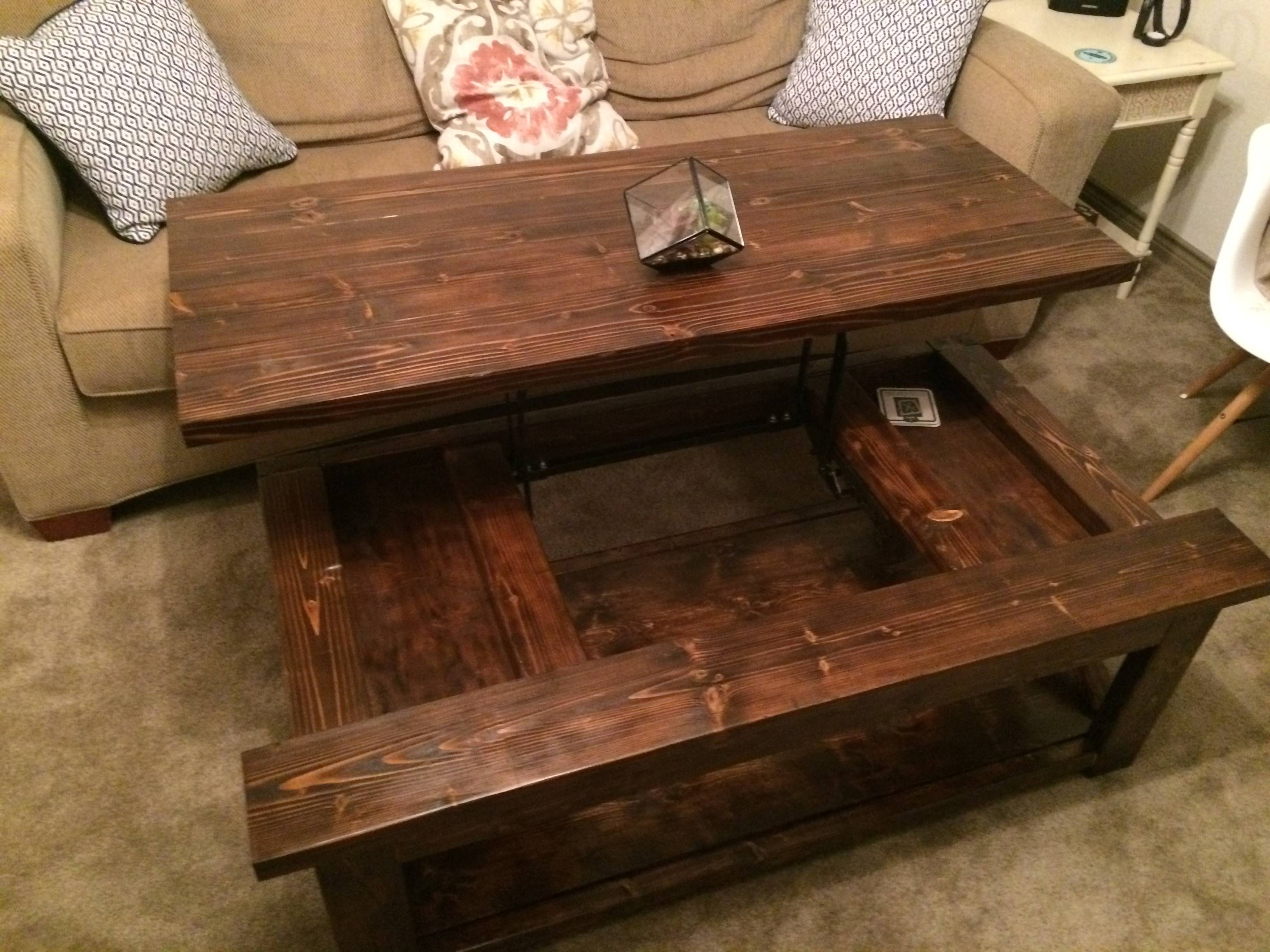 Coffee Table: Charming Diy Lift Ttop Coffee Table Lift Up Top intended for Rustic Style Coffee Tables (Image 7 of 30)