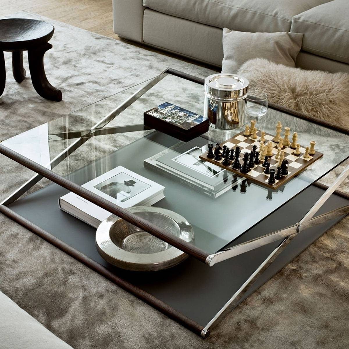 Coffee Table: Charming Metal And Glass Coffee Table Design Ideas within Glass Coffee Tables With Storage (Image 10 of 30)