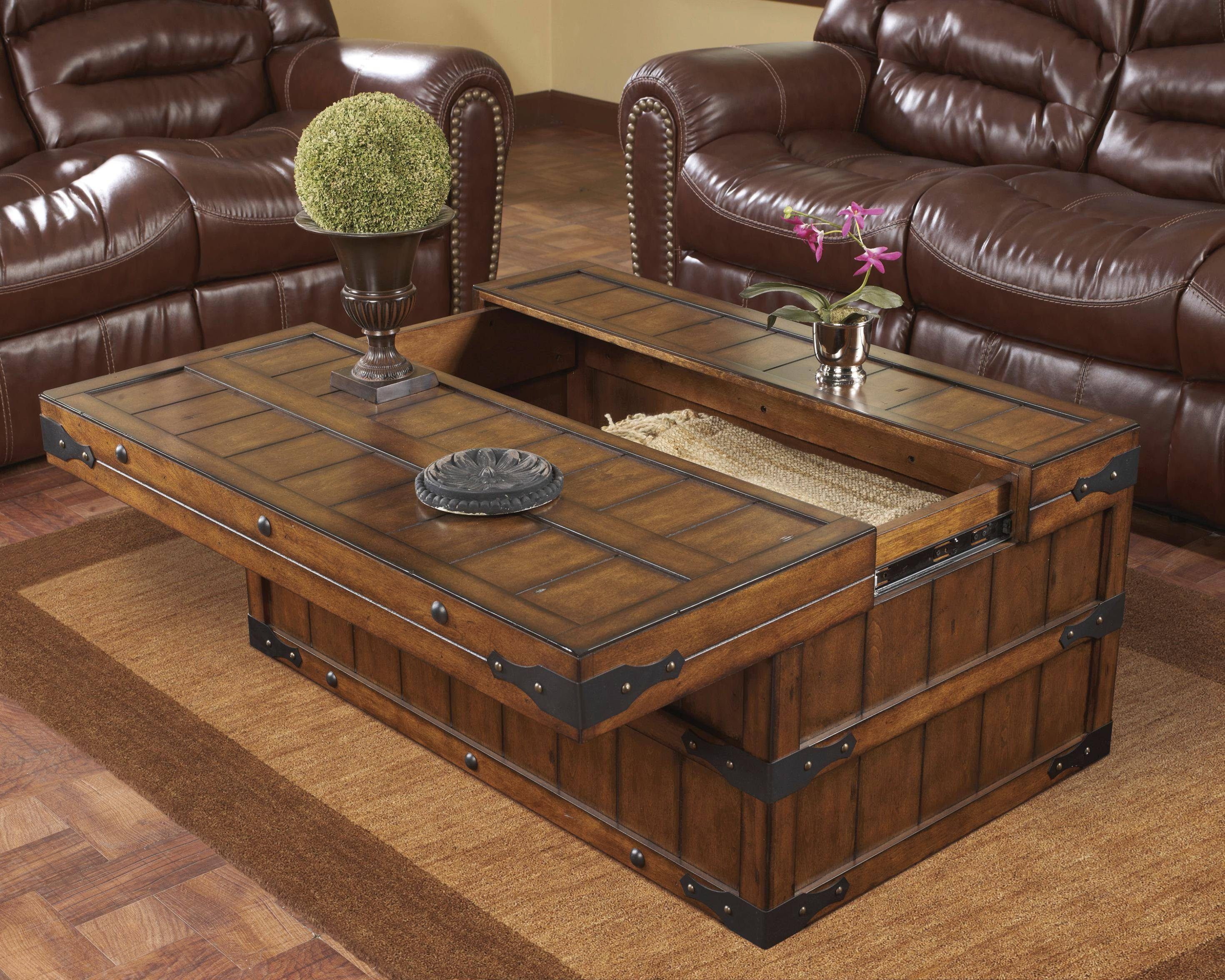 Coffee Table. Chic Coffee Table Trunk Designs: Elegant Gray for Hardwood Coffee Tables With Storage (Image 3 of 30)