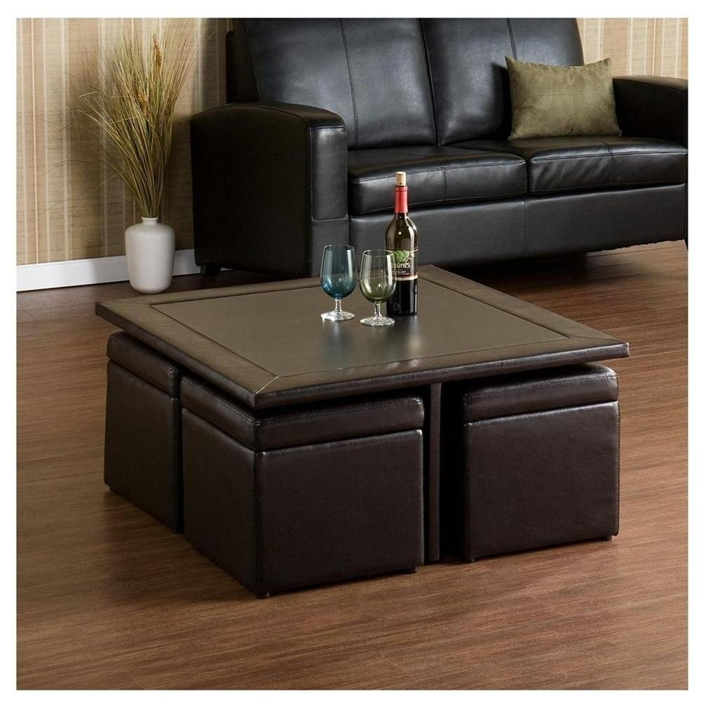 Coffee Table: Chic Coffee Table With Ottomans Underneath Designs for Square Dark Wood Coffee Table (Image 6 of 30)