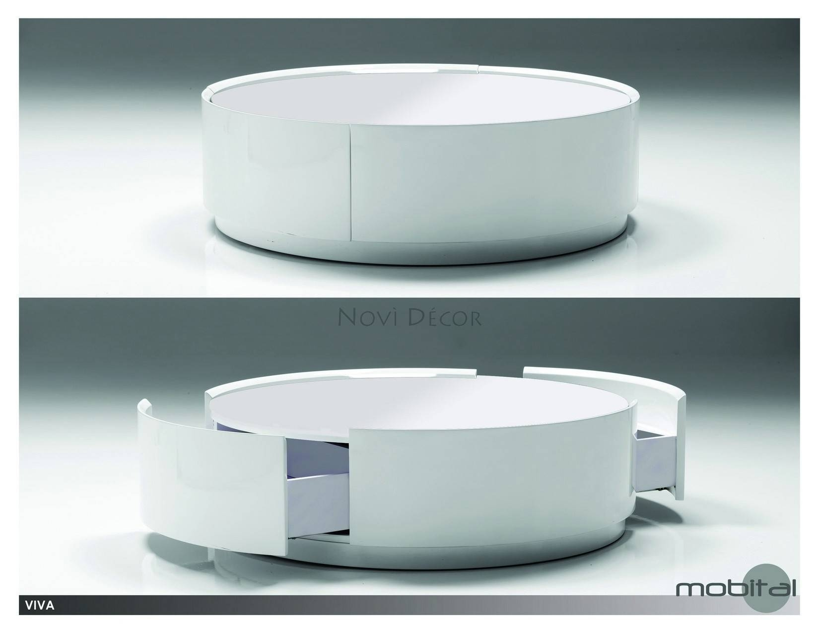 Coffee Table: Chic Round White Coffee Table Ideas Glass Top Coffee within Round Coffee Tables With Storages (Image 9 of 30)
