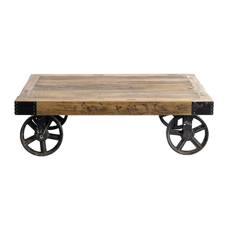 Coffee Table: Chic Rustic Coffee Table With Wheels Design Ideas for Rustic Coffee Table With Wheels (Image 3 of 30)