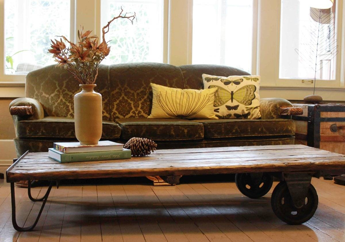Coffee Table: Chic Rustic Coffee Table With Wheels Design Ideas regarding Wheels Coffee Tables (Image 6 of 30)