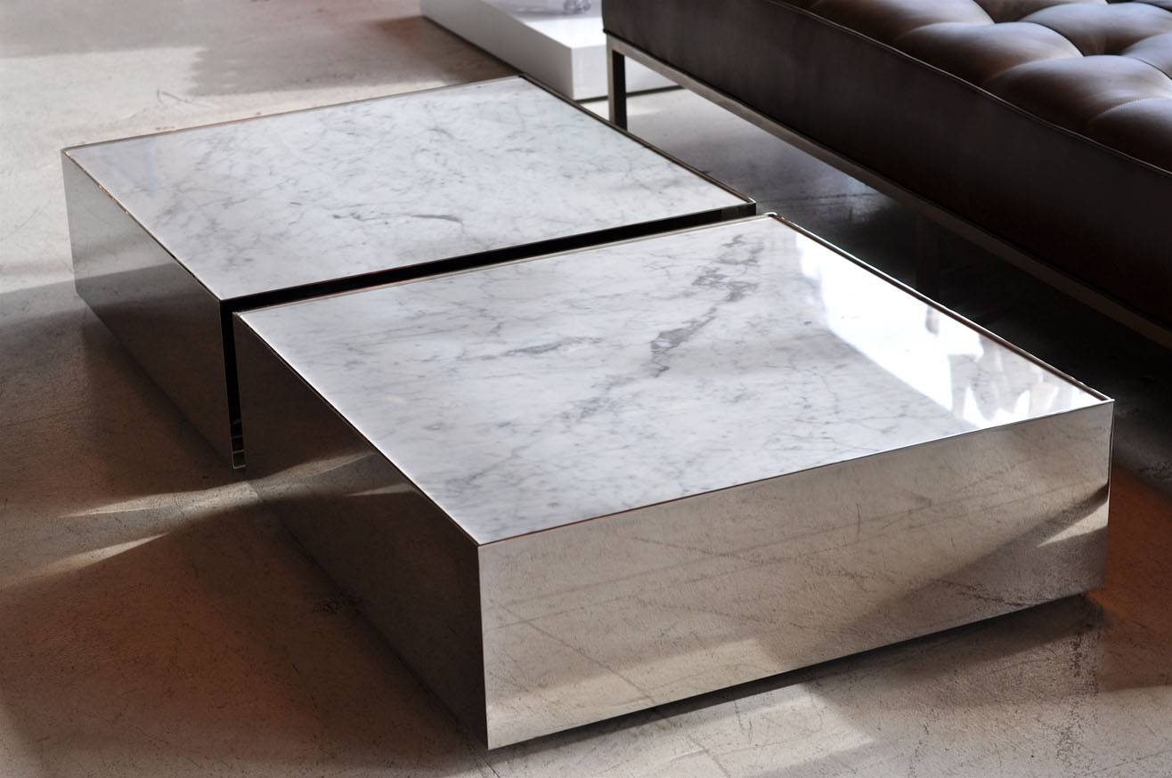 Coffee Table. Chic Square Marble Coffee Table Design Ideas: Large throughout Large Low Coffee Tables (Image 3 of 15)
