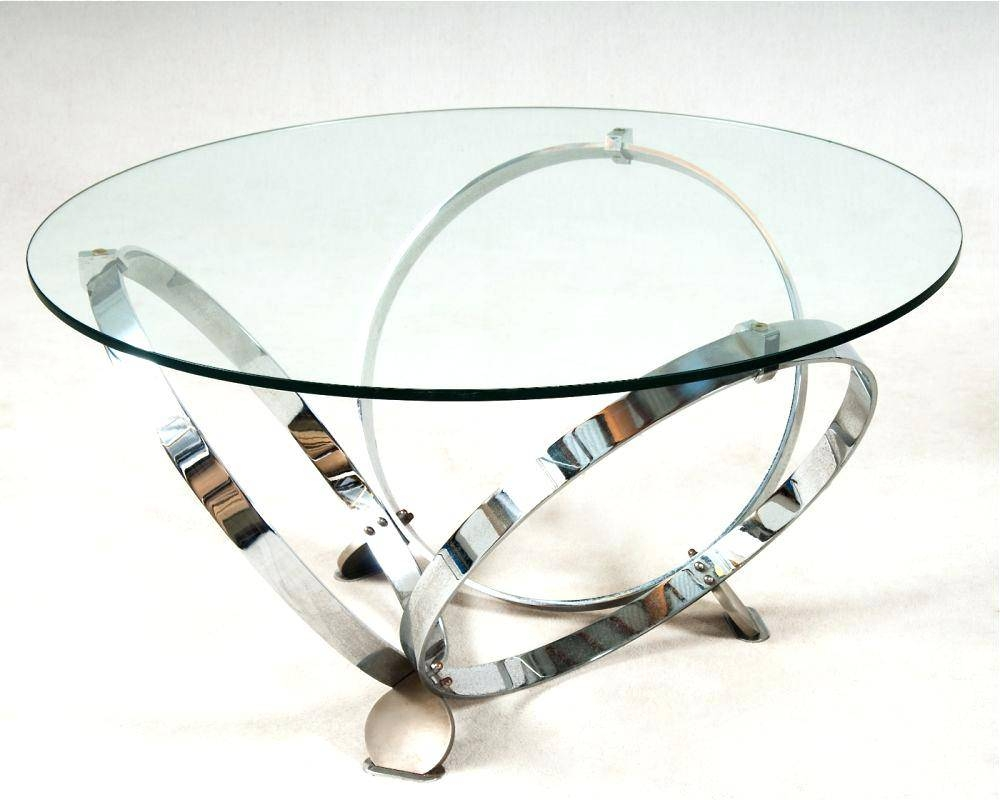 Coffee Table ~ Coffee Tablemodern Round Glass Table Chrome Ring throughout Wood Chrome Coffee Tables (Image 7 of 30)