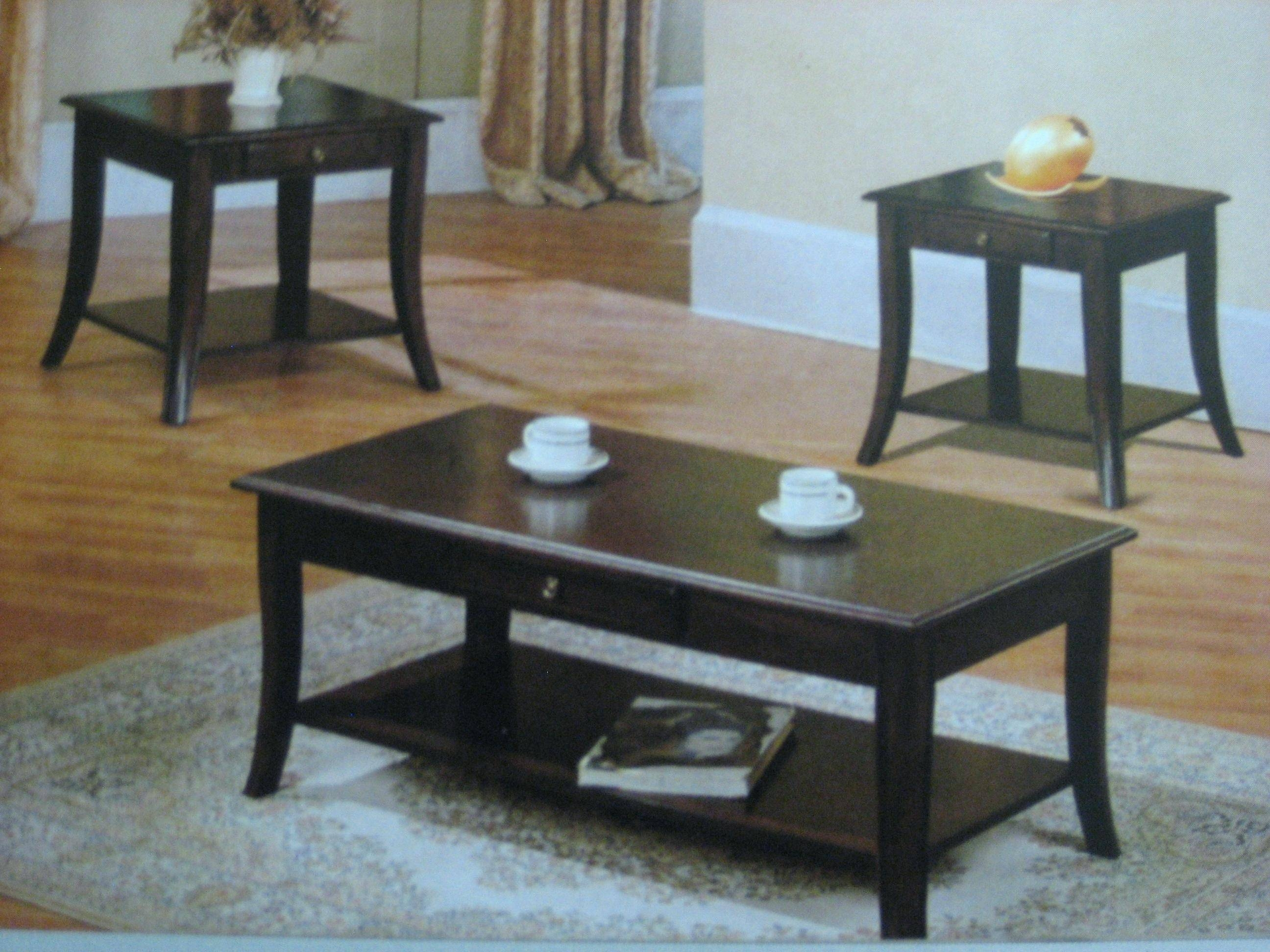 Coffee Table ~ Contemporary Dark Cherry Table Set Cm4669 3Pkdark throughout Cherry Wood Coffee Table Sets (Image 12 of 30)