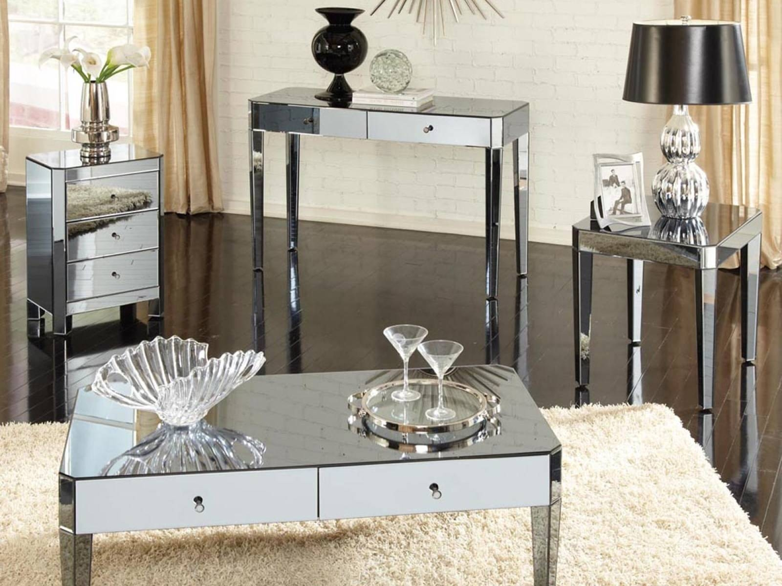 Coffee Table: Contemporary Mirrored Coffee Table Decor Table intended for Mirrored Coffee Tables (Image 4 of 30)