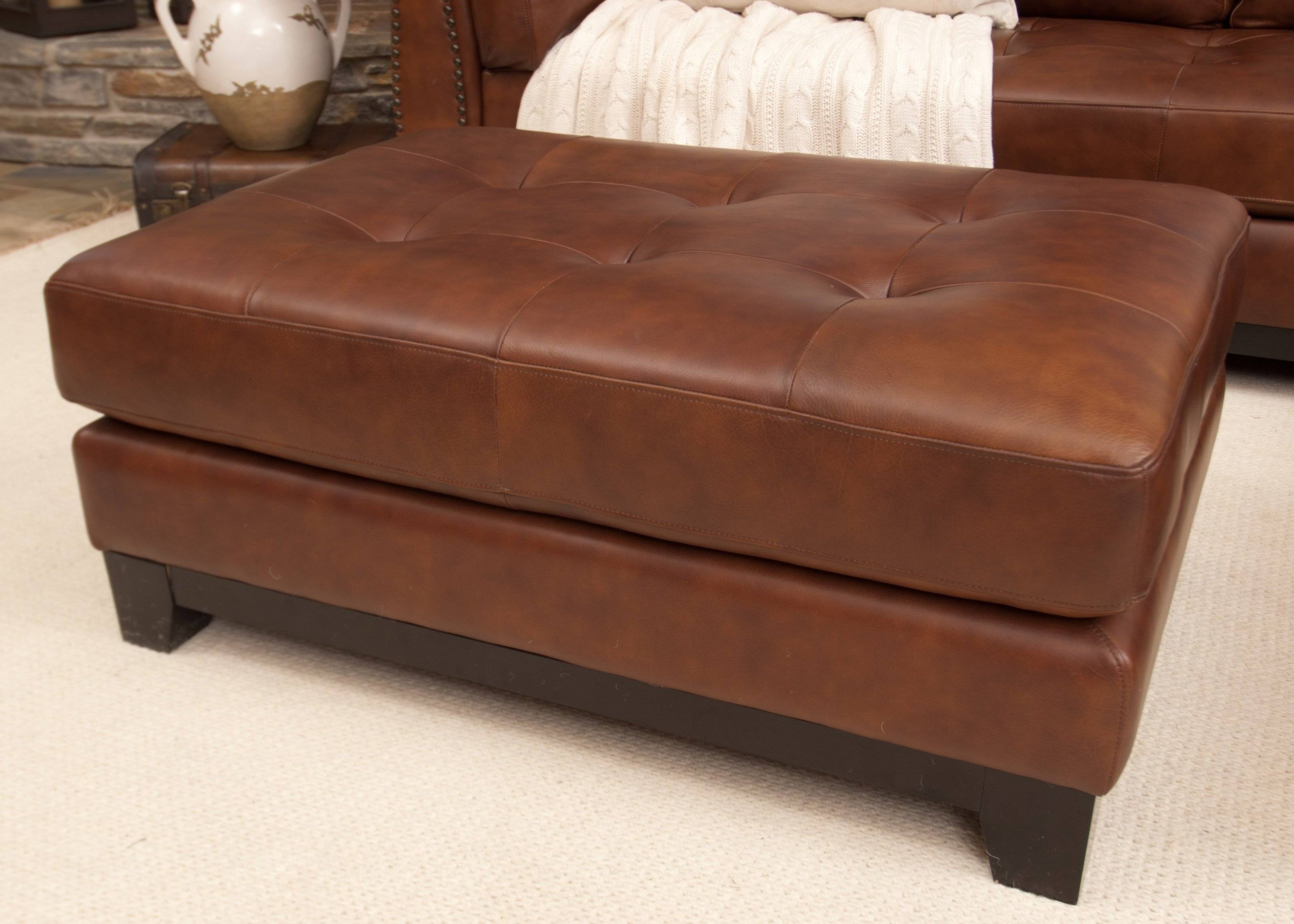 Coffee Table: Cool Leather Ottoman Coffee Table Designs Leather Within Brown Leather Ottoman Coffee Tables (View 4 of 30)