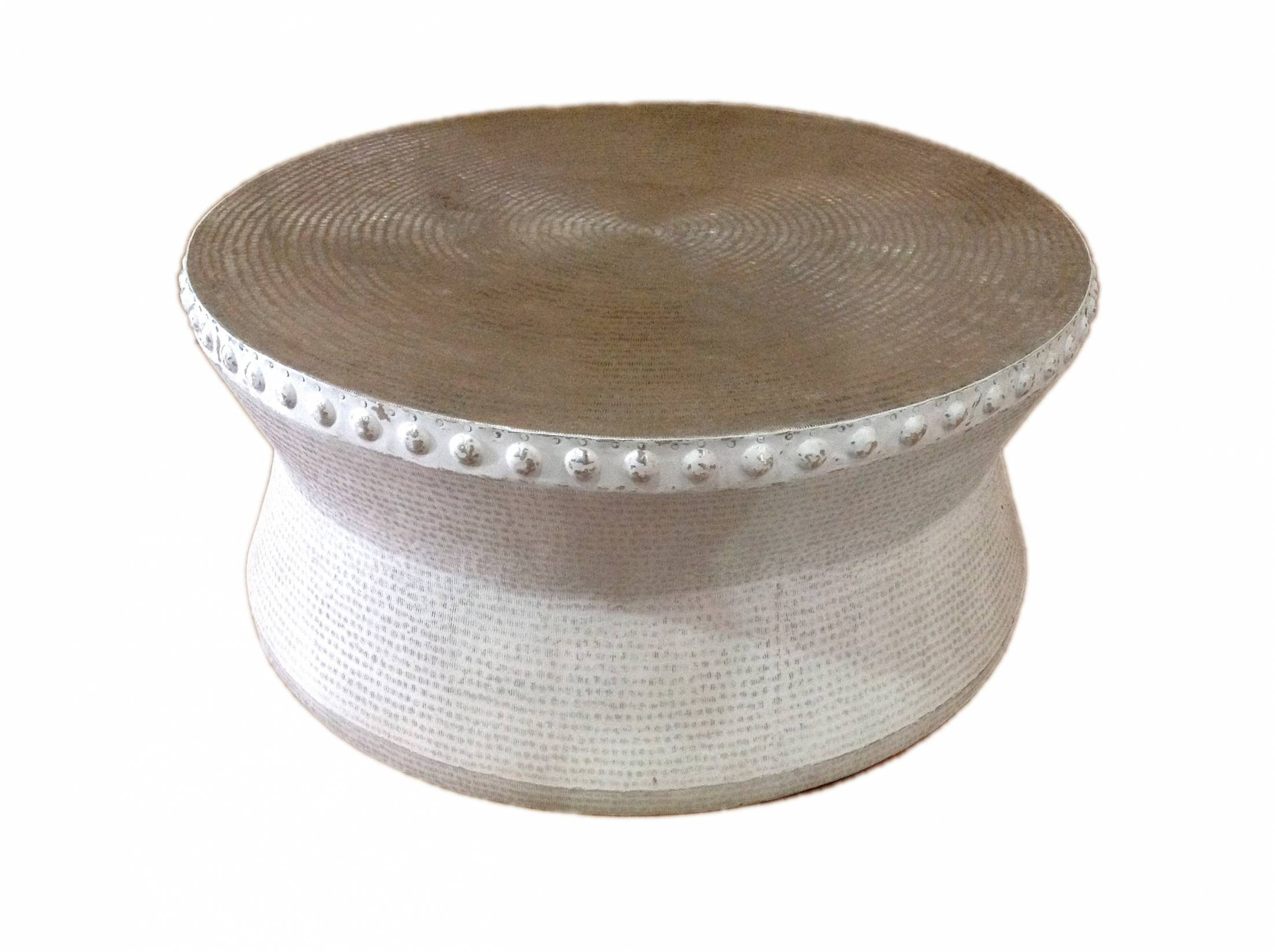 Coffee Table. Elegant Metal Drum Coffee Table Ideas: Amusing Brown pertaining to Silver Drum Coffee Tables (Image 9 of 30)