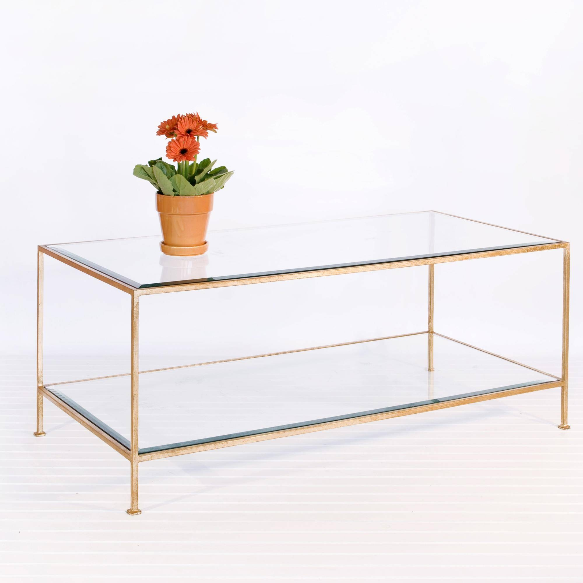 Coffee Table: Enchanting Gold Glass Coffee Table Design Ideas inside Glass Coffee Tables With Shelf (Image 7 of 30)