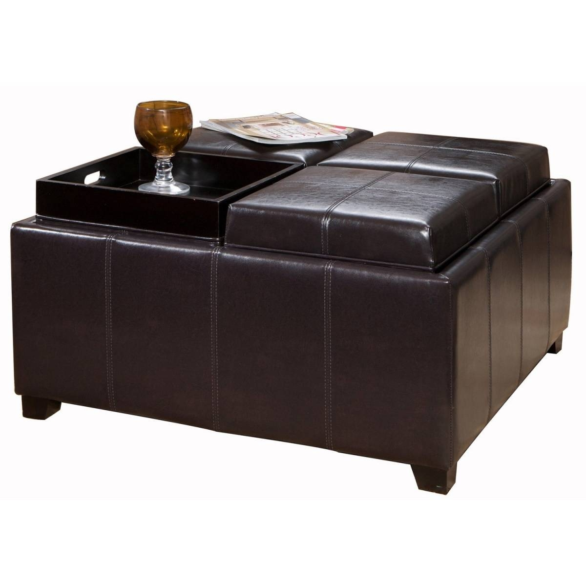 Coffee Table: Enchanting Leather Coffee Table Ottoman Designs intended for Dark Brown Coffee Tables (Image 10 of 30)