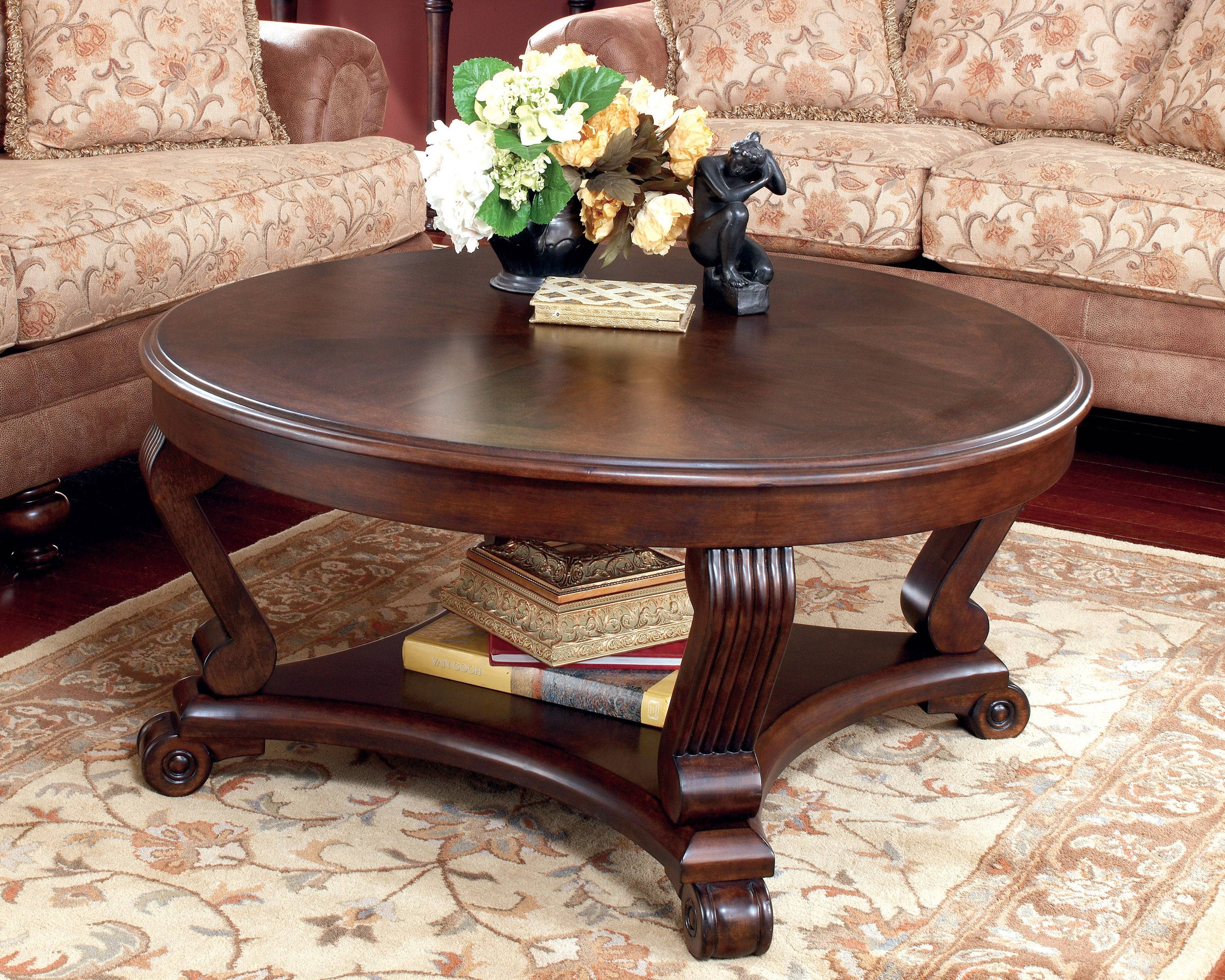 Coffee Table: Exciting Round Coffee Table Sets Designs Coffee throughout Dark Wood Round Coffee Tables (Image 9 of 30)