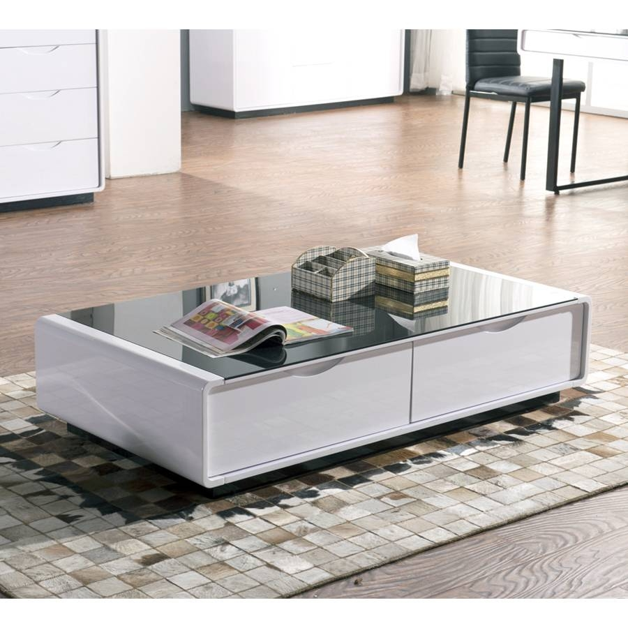 Coffee Table: Glamorous White Glass Coffee Table Sets White Wood intended for Glass Top Storage Coffee Tables (Image 8 of 30)