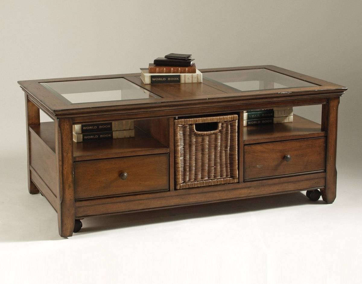 Coffee Table Glass Top Display Drawer Throughout Coffee Tables With Glass Top Display Drawer (View 7 of 30)