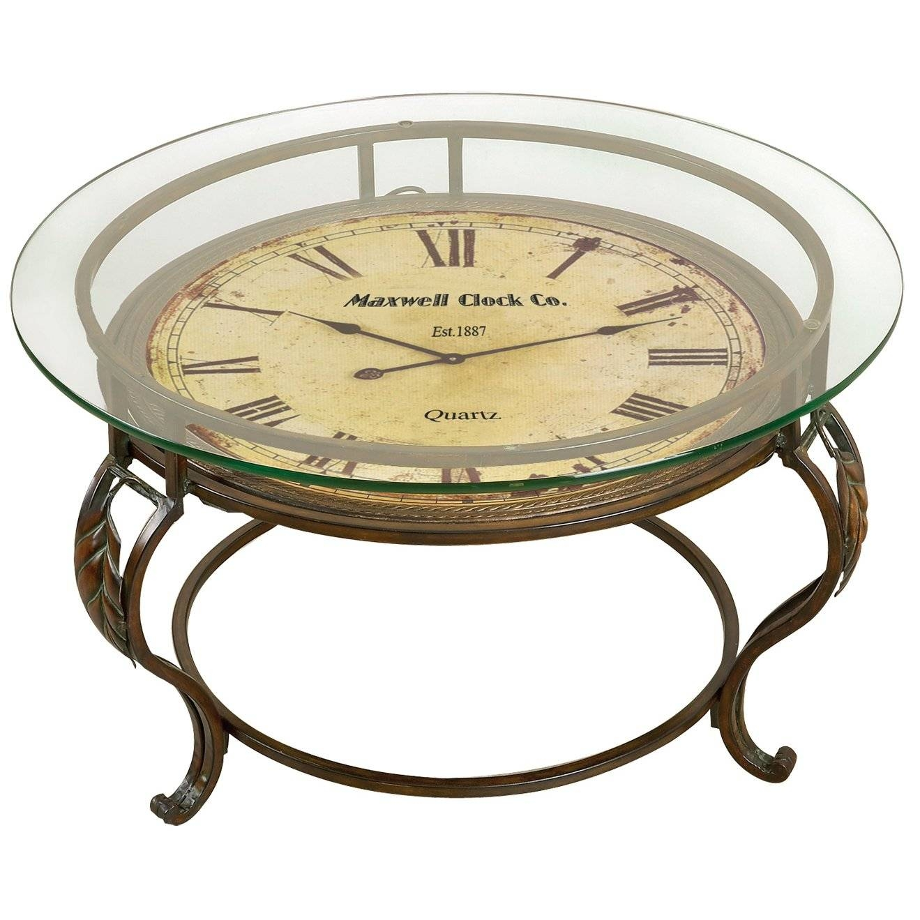 Coffee Table Glass Top With Clock Vintage Style Metal Living Room Regarding Coffee Tables With Clock Top (View 7 of 30)