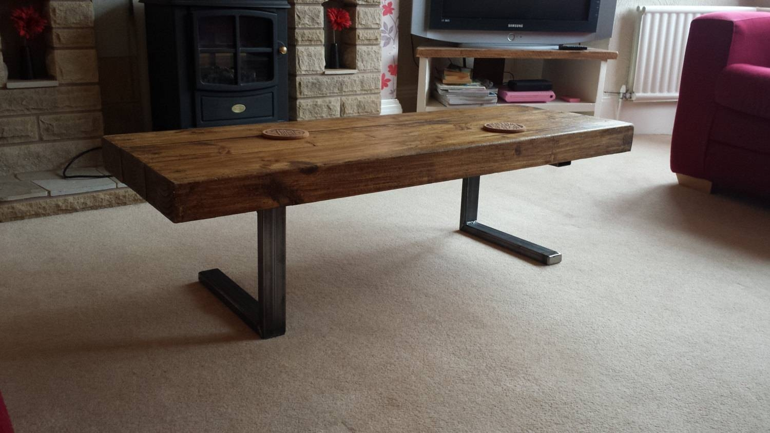 Coffee Table In Chunky Rustic Design With Steel L Shaped Legs With Regard To Chunky Rustic Coffee Tables (View 8 of 30)