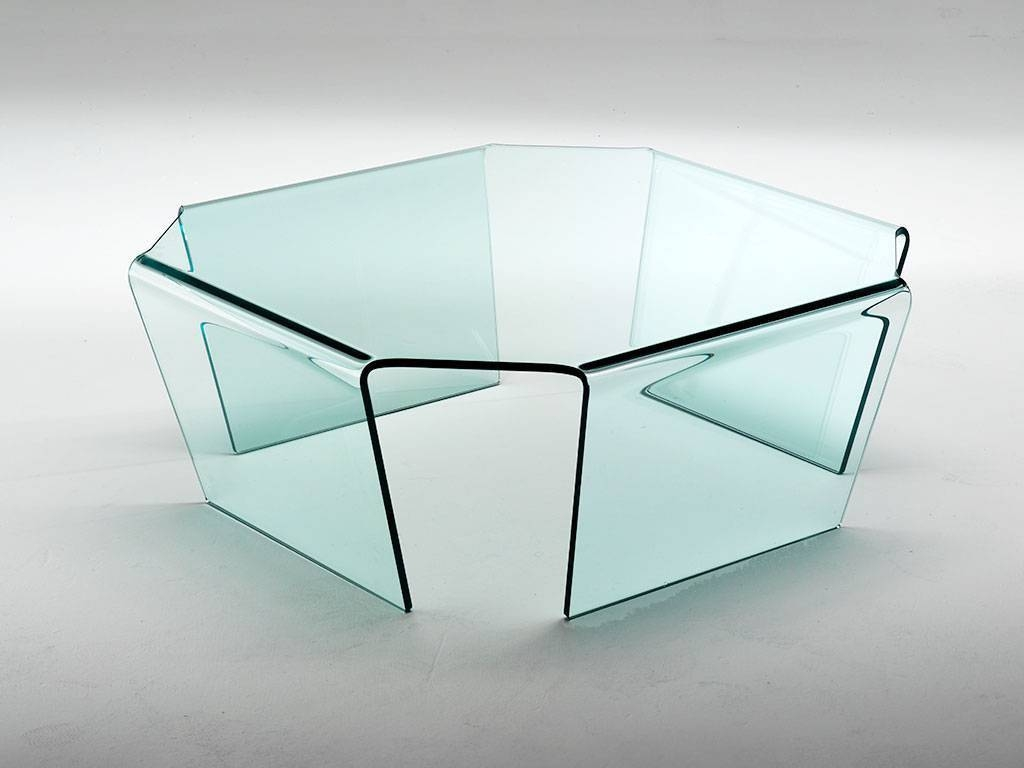Coffee Table In Curved Glass Quadra within Curved Glass Coffee Tables (Image 8 of 30)