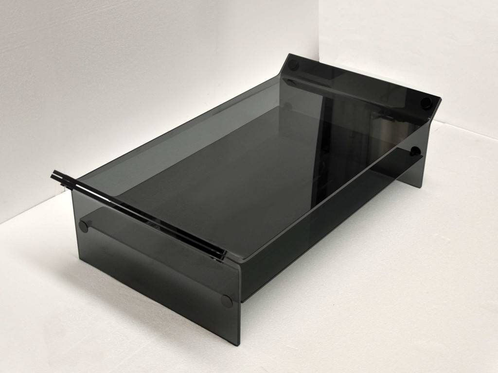 Coffee Table In Smoked Curved Glass Triclinium With Curved Glass Coffee Tables (View 9 of 30)