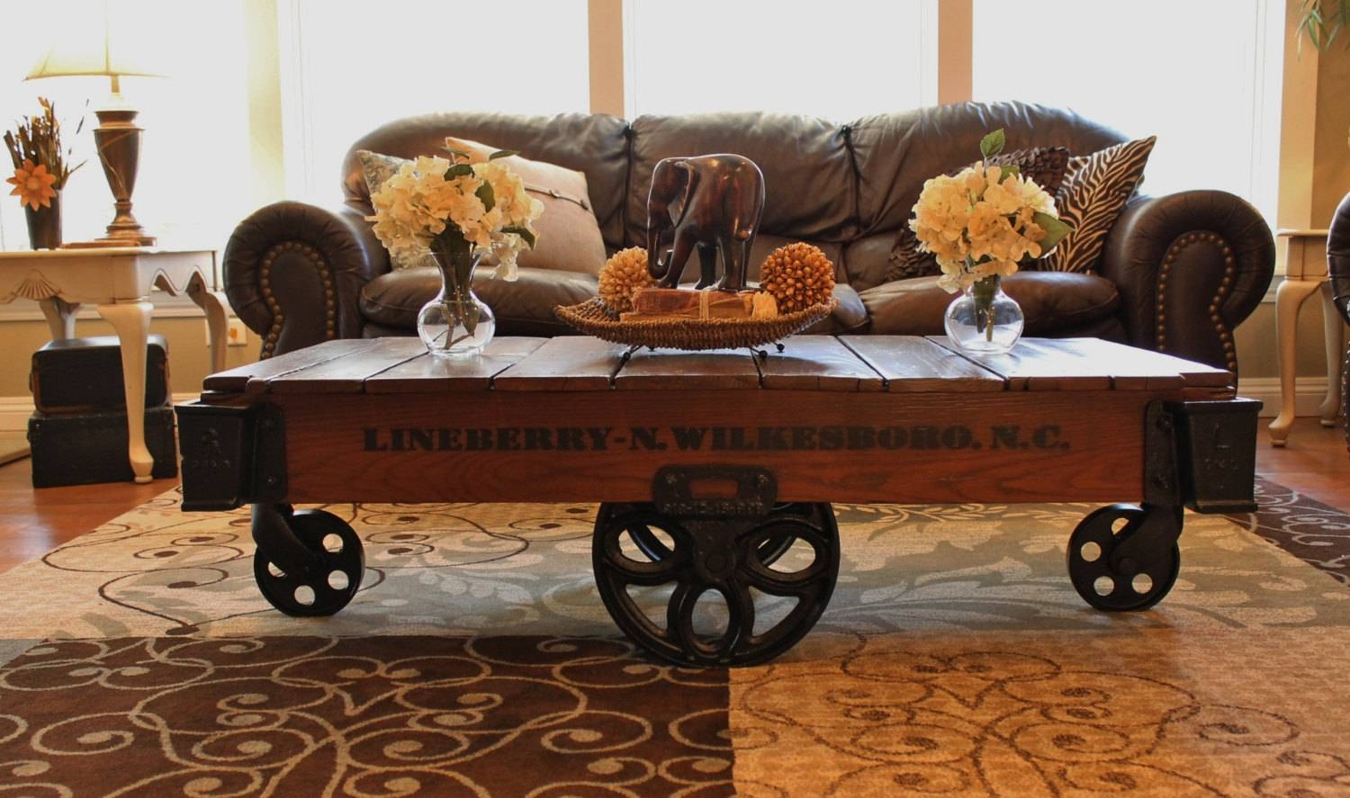 Coffee Table: Incredible Industrial Cart Coffee Table Ideas Cart pertaining to Wheels Coffee Tables (Image 7 of 30)