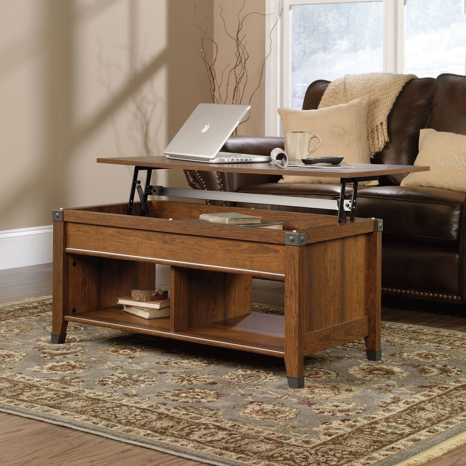 Coffee Table Lift Top Wood Cherry Storage Open Shelves Laptop Pertaining To Opens Up Coffee Tables (View 9 of 30)
