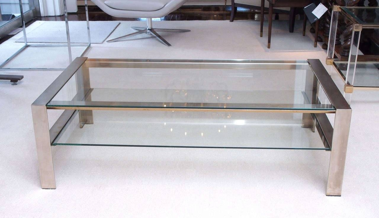 Coffee Table: Luxury Stainless Steel Coffee Table Ideas Brushed Throughout Steel And Glass Coffee Tables (View 9 of 30)