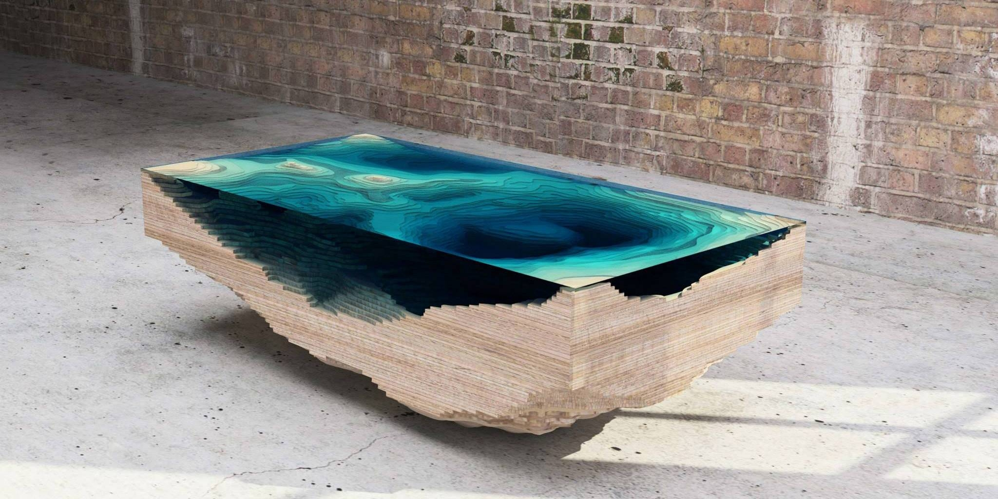 Coffee Table Made Of Layered Glass To Resemble The Depths Of The Ocean regarding Swirl Glass Coffee Tables (Image 6 of 30)