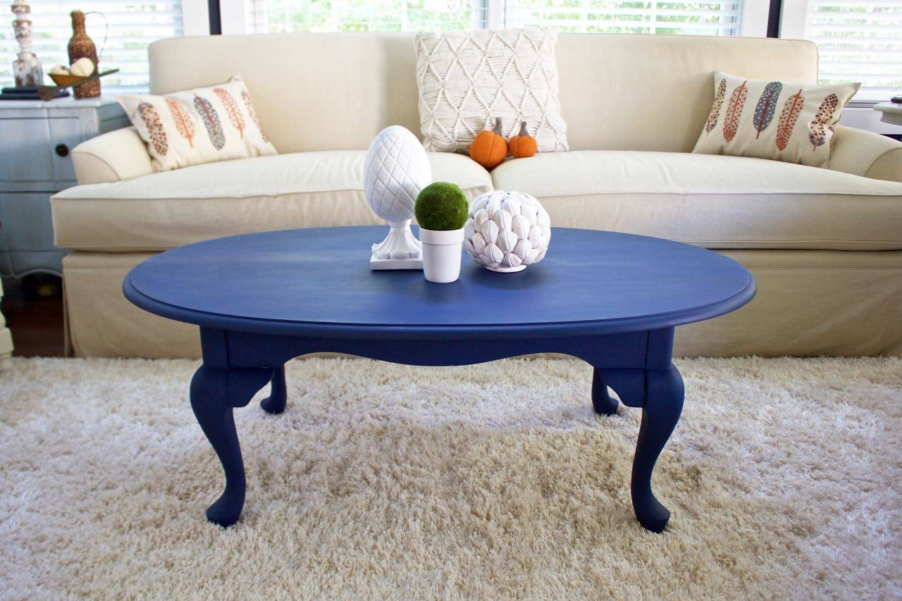 Coffee Table Makeover In Napoleonic Blue Chalk Paint - 2 Bees In A Pod within Blue Coffee Tables (Image 9 of 30)
