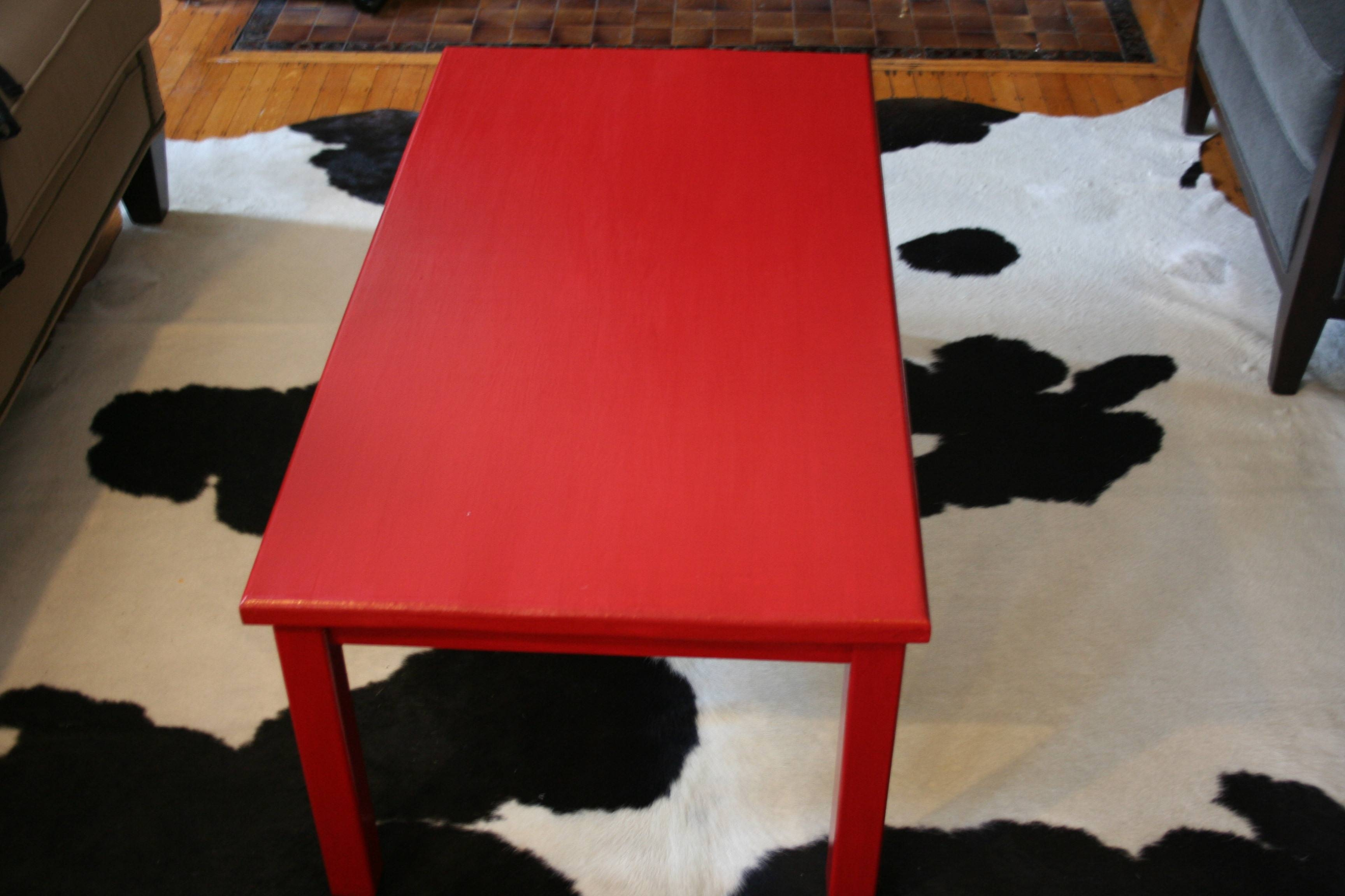 Coffee Table Makeover: Rock Star Ruby | Kate Collins Interiors pertaining to Round Red Coffee Tables (Image 3 of 30)