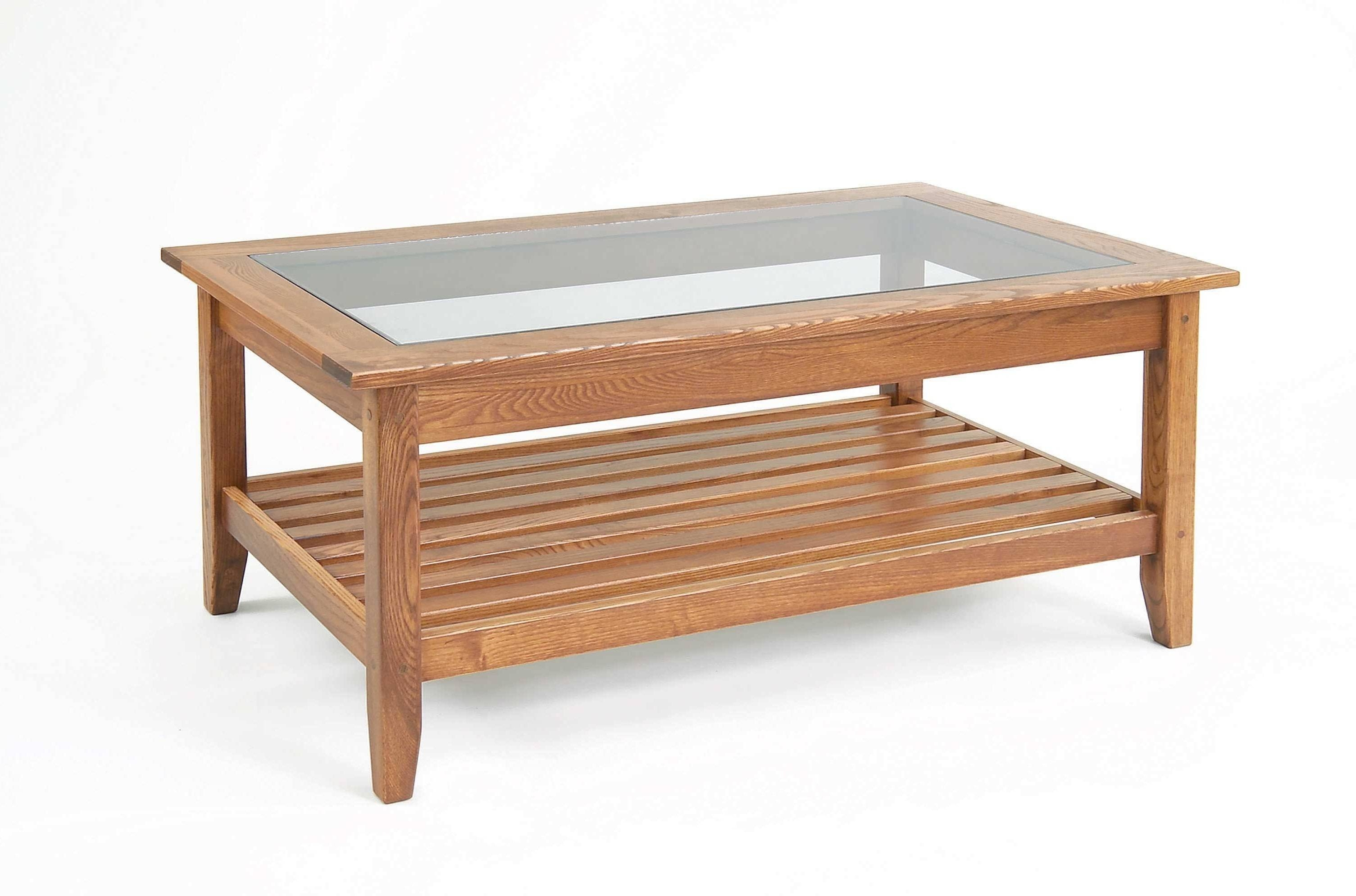 Coffee Table: Marvelous Wood And Glass Coffee Table Designs Coffee within Glass Coffee Tables With Shelf (Image 10 of 30)