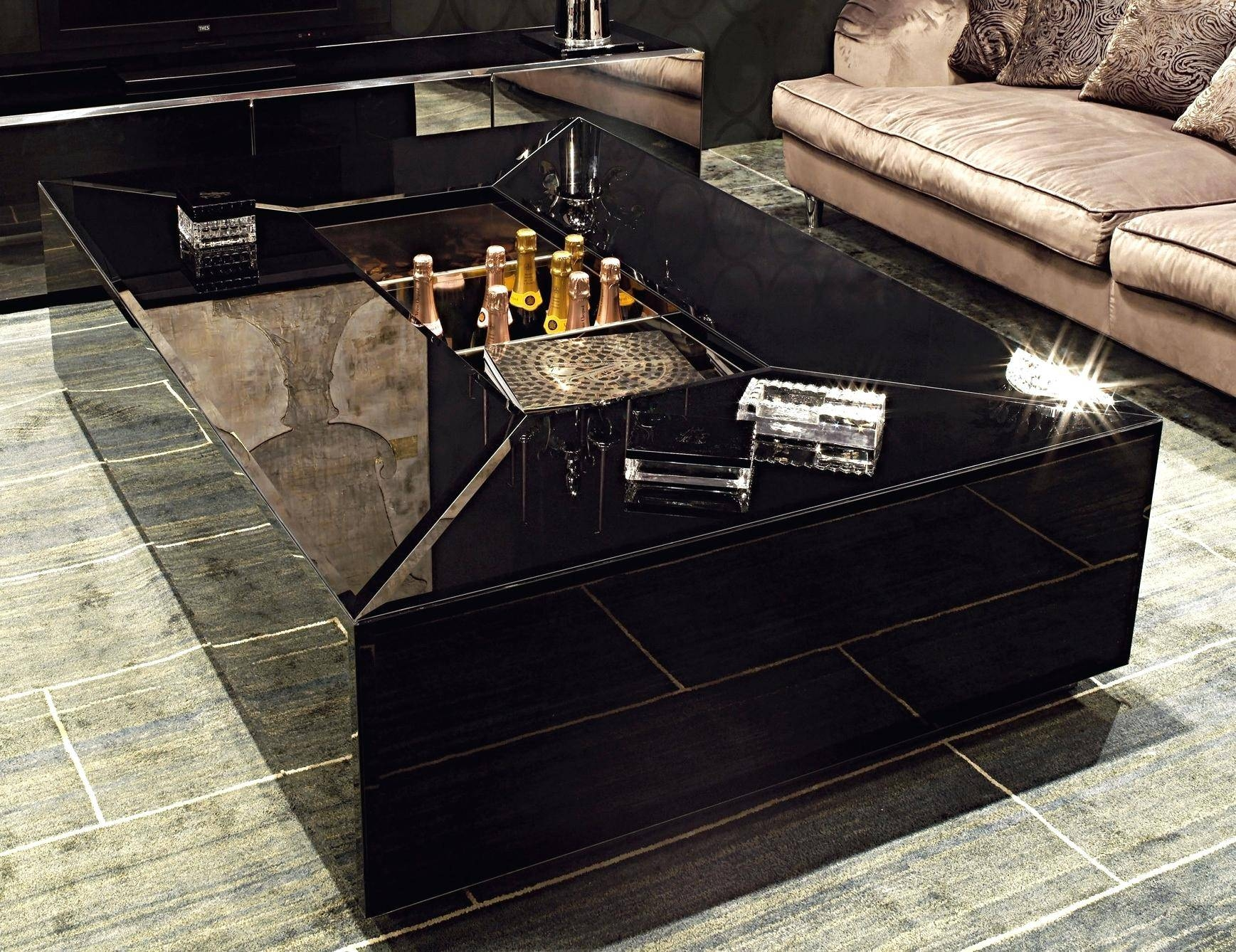 Coffee Table ~ Modern Black Lacquer Round Coffee Table Marble with Lacquer Coffee Tables (Image 10 of 30)