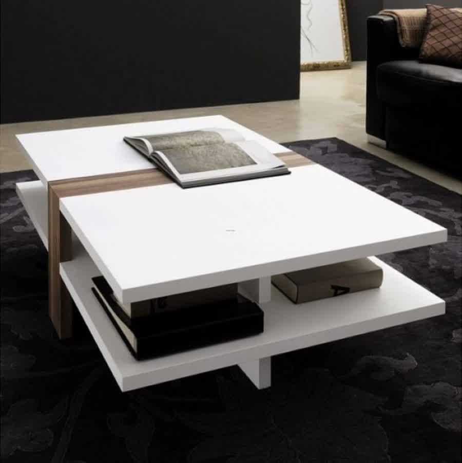 Coffee Table : Modern Rectangular White Coffee Table With Book in White Coffee Tables With Storage (Image 1 of 30)