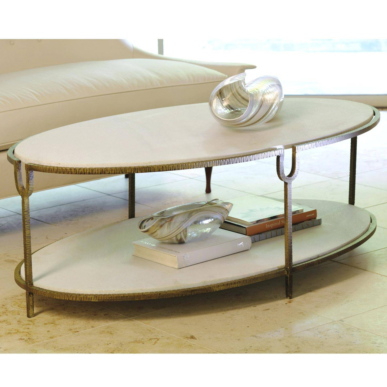 Coffee Table ~ Nuevo Living Aurora Marble Coffee Table Tablesdcor pertaining to Oval Shaped Coffee Tables (Image 7 of 30)