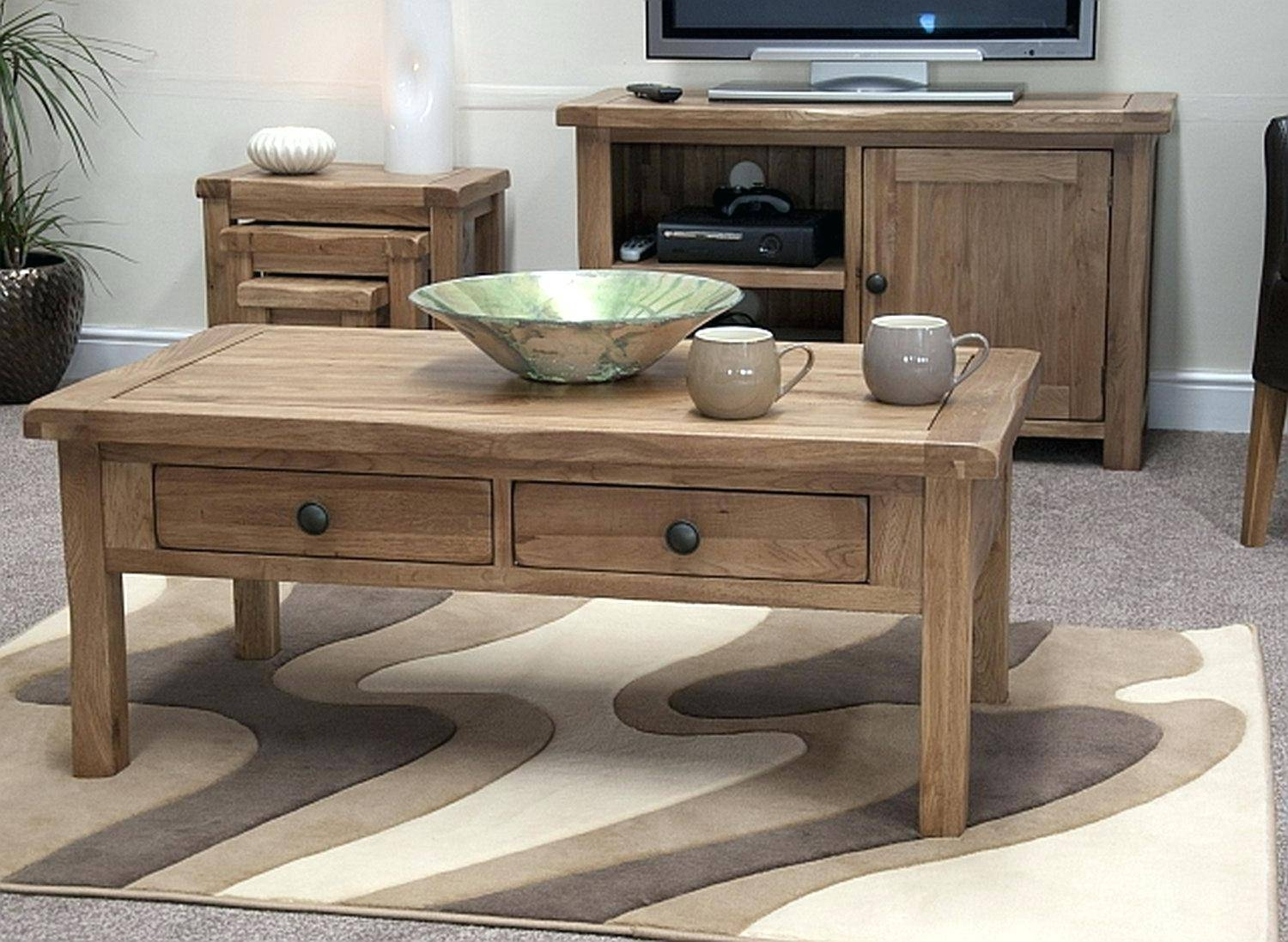 Coffee Table ~ Oak Storage Coffee Table Solid Contemporary for Elevating Coffee Tables (Image 7 of 30)