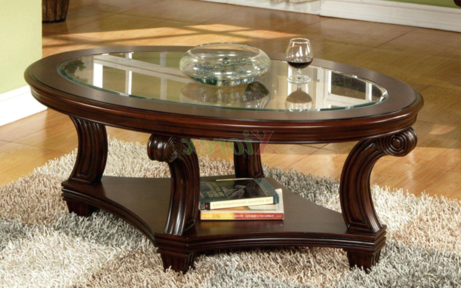 Coffee Table ~ Oval Glass Top Coffee Table Sets Nathan Shades within Oval Glass and Wood Coffee Tables (Image 3 of 30)
