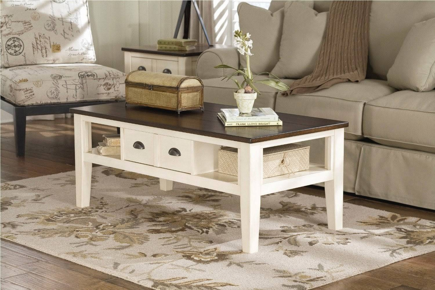 Coffee Table, Painted Toulouse Drawer Coffee Table Antique White pertaining to Retro White Coffee Tables (Image 11 of 30)