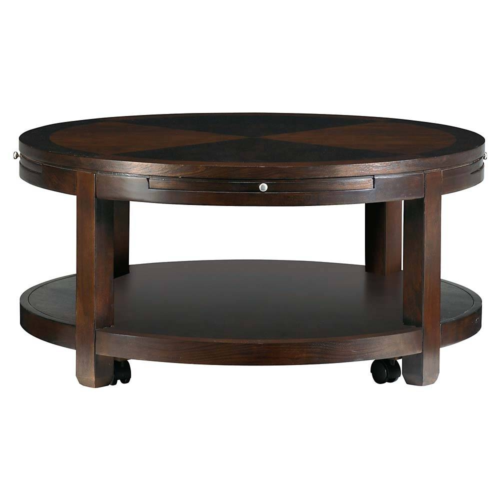 Coffee Table : Round Coffee And Cocktail Coffee Table With Shelves with regard to Coffee Tables With Shelves (Image 4 of 30)
