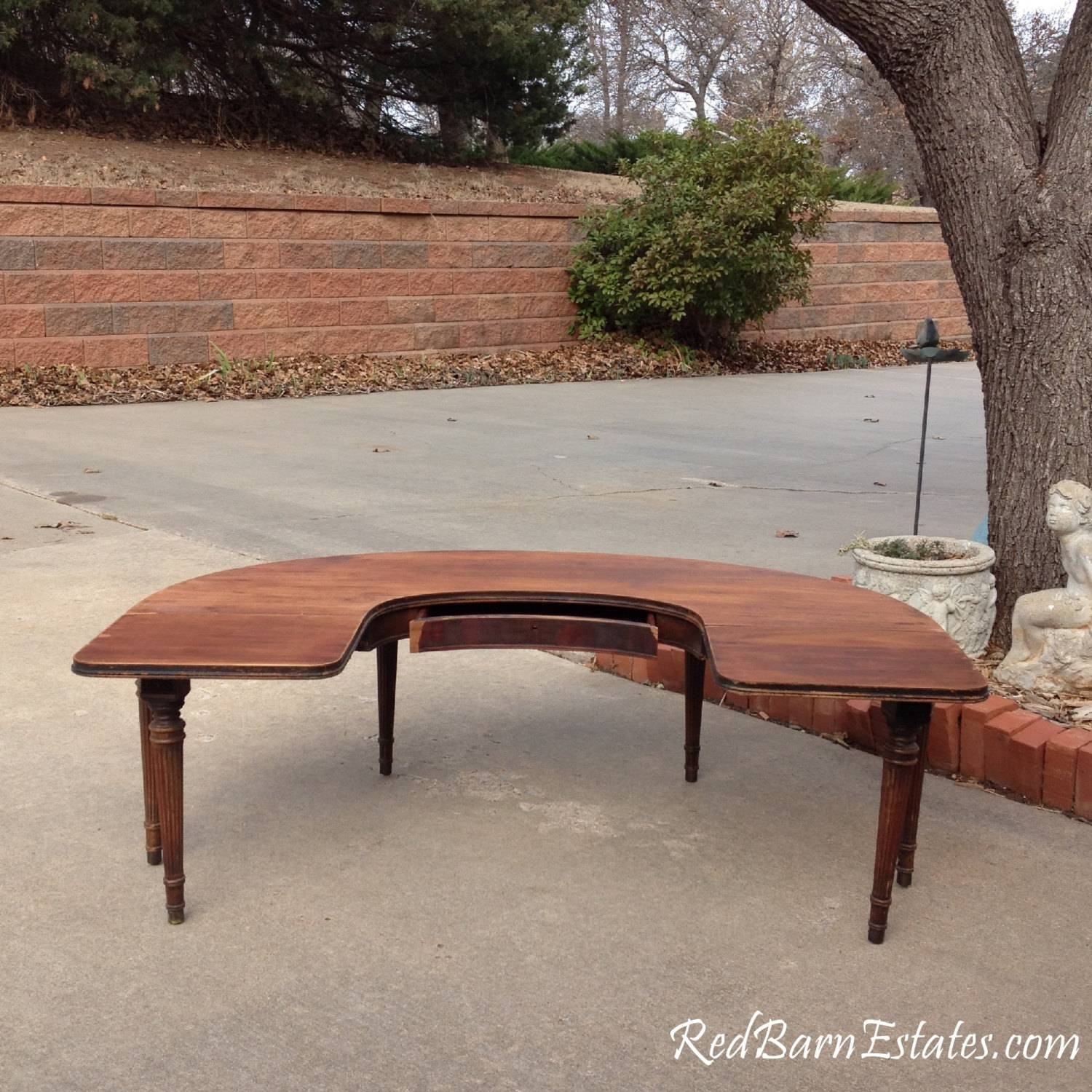 Coffee Table - Round - Half Circle - Drop Leaf Sides - Antique intended for Half Circle Coffee Tables (Image 5 of 30)