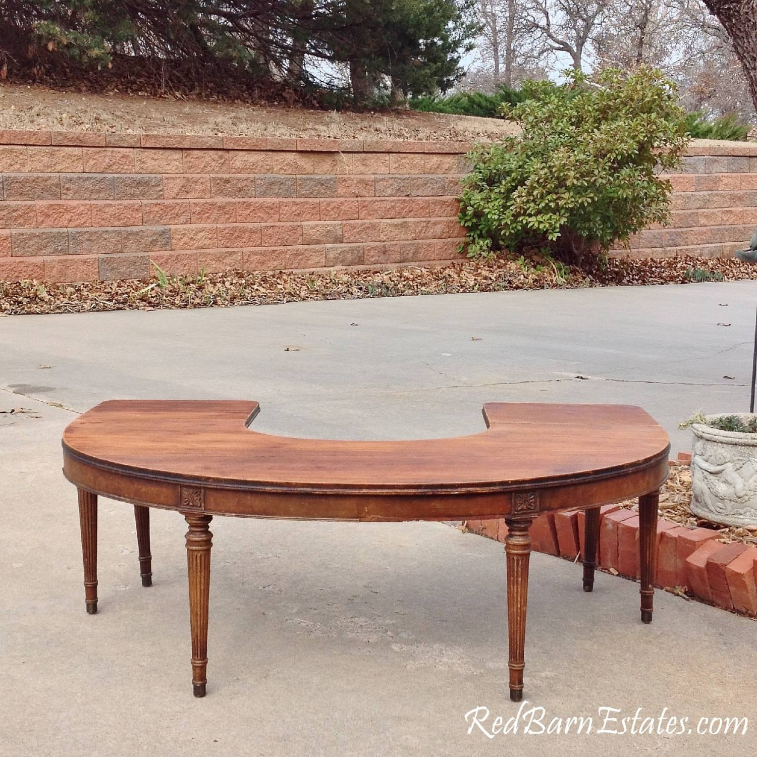 Coffee Table - Round - Half Circle - Drop Leaf Sides - Antique with regard to Half Circle Coffee Tables (Image 6 of 30)