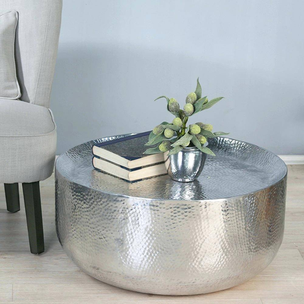 Coffee Table ~ Round Metal Coffee Table Tablesround Outdoor Glass pertaining to Round Steel Coffee Tables (Image 7 of 30)