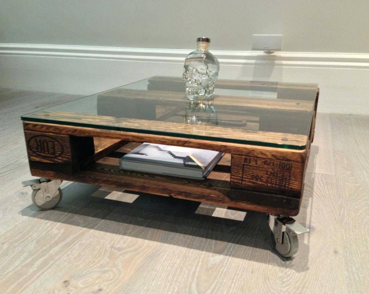 Coffee Table ~ Rustic Coffee Tables With Wheelssmall Table Casters  Regarding Glass Coffee Tables With Casters