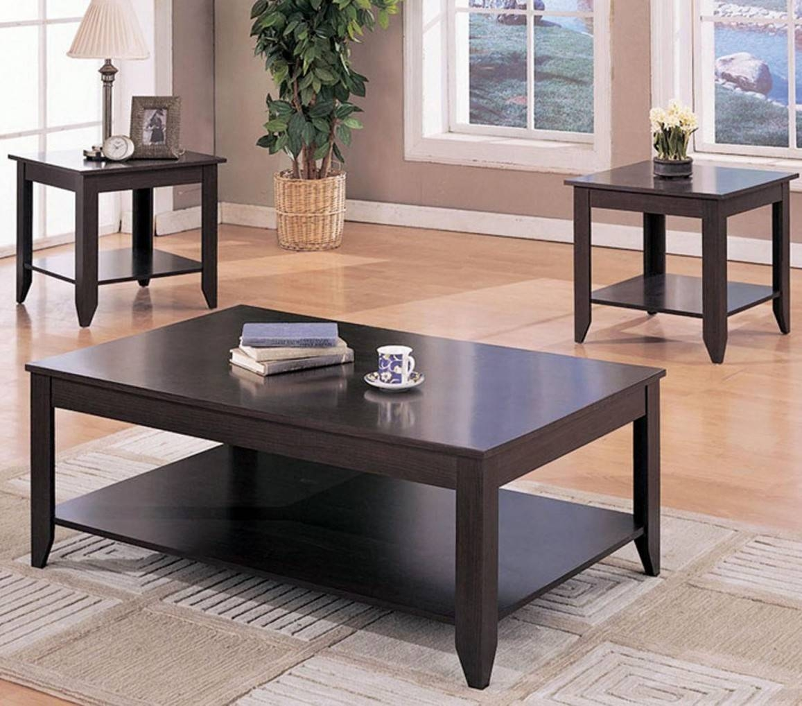 Coffee Table Set - Cappuccino Wood Coffee Table Set Wooden End Tables pertaining to Coffee Table With Matching End Tables (Image 8 of 30)
