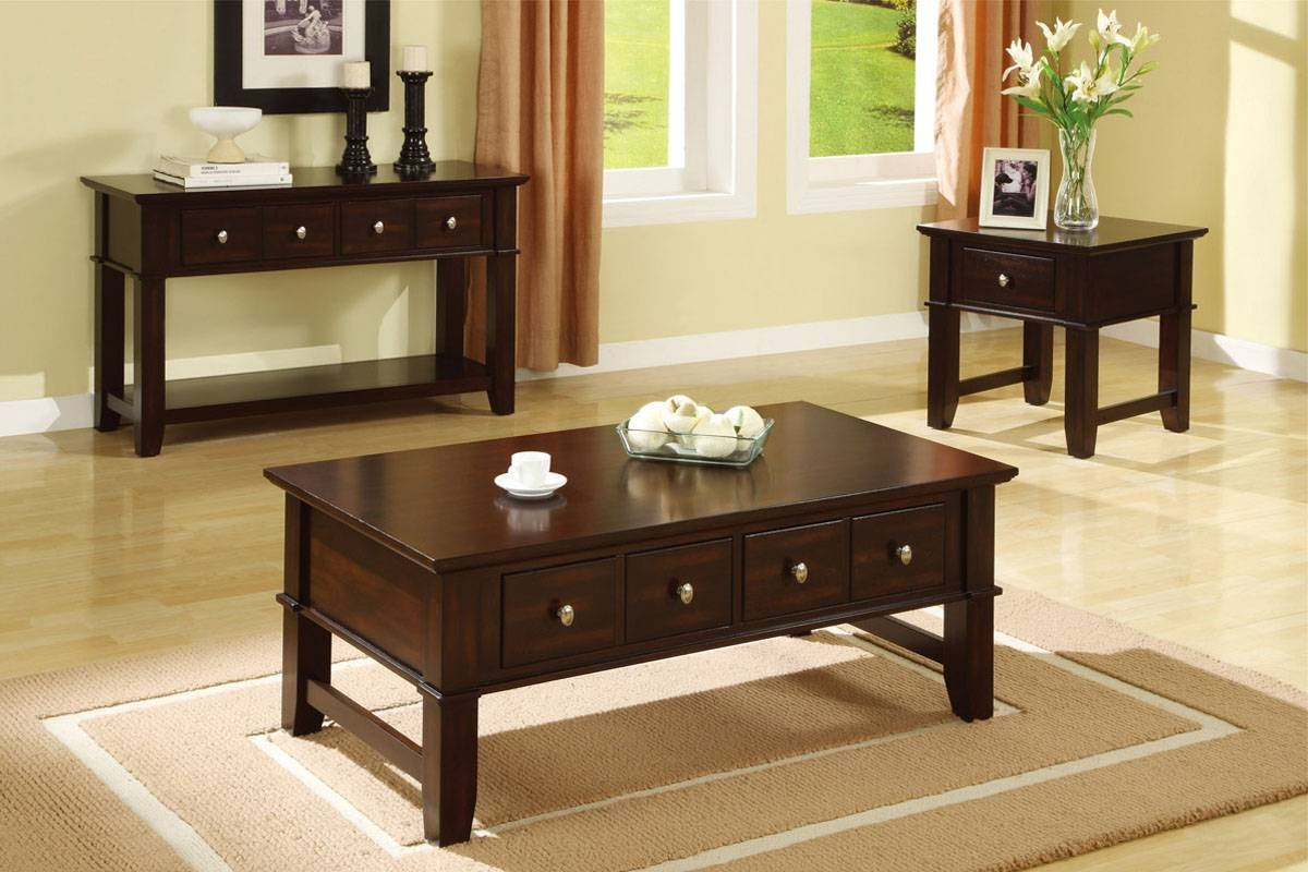 Coffee Table Set, Mission Style, Espresso - Huntington Beach Furniture regarding Espresso Coffee Tables (Image 8 of 30)