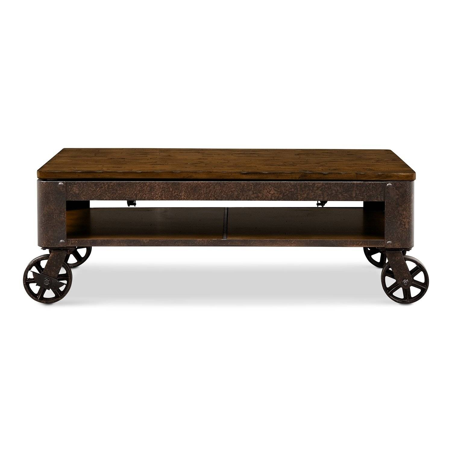 Coffee Table: Simple Rustic Coffee Table With Wheels Ideas Car inside Rustic Coffee Table With Wheels (Image 4 of 30)